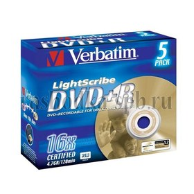 Диск Jewel case (box) DVD+R Verbatim 16x 4.7 Gb (5 шт) lightScribe