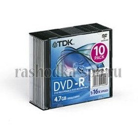 Диск Slim case (box) DVD-R TDK 16x 4.7 Gb (1 шт)